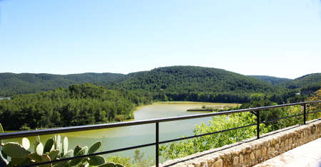 Overview of Foix reservoir from the castle of Castellet i la Gornal, Barcelona Фото со стока