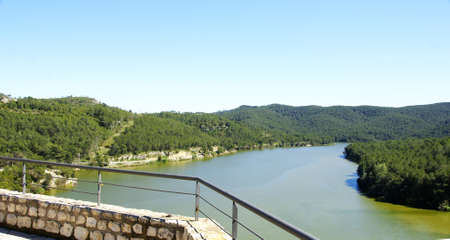 average age: Overview of Foix reservoir from the castle of Castellet i la Gornal, Barcelona Stock Photo