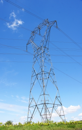 electric material: High voltage tower in Castellet i la Gornal, Barcelona Stock Photo