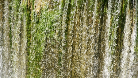 Waterfall of the spillway of Foix reservoir for backgrounds and textures, Castellet i la Gornal, Barcelona