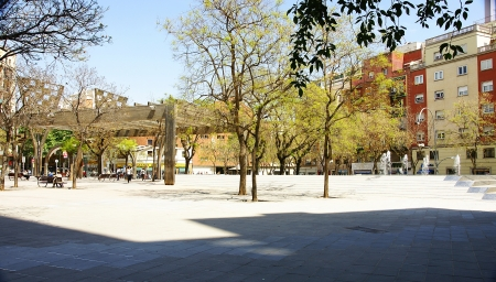 amat: Panoramic of the square Virrei Amat, Barcelona