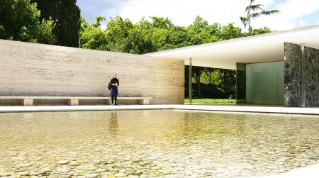 pavilion: Facade of the Mies Van Der Rohe pavilium, Barcelona