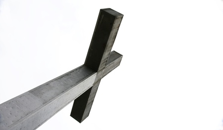 cusp: Cross on the top of the mountain of the Turo de la Peira, Barcelona Stock Photo