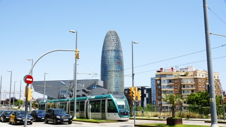 singular architecture: Panoramic of the Agbar tower with Museum of Design, Barcelona