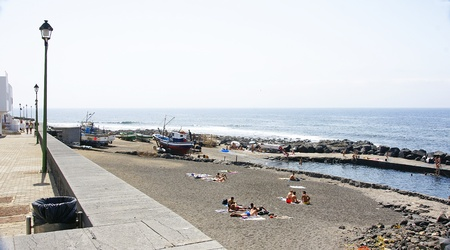 a bathing place: Overview of the port of La Santa, Lanzarote, Canary Islands