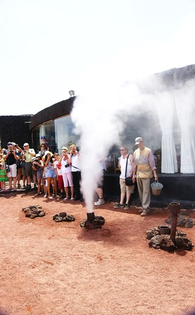 steam mouth: Shows in the Natural Park of Timanfaya, Lanzarote, Canary Islands
