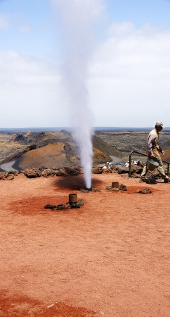 steam mouth: Shows Timanfaya Park in Lanzarote, Canary Islands
