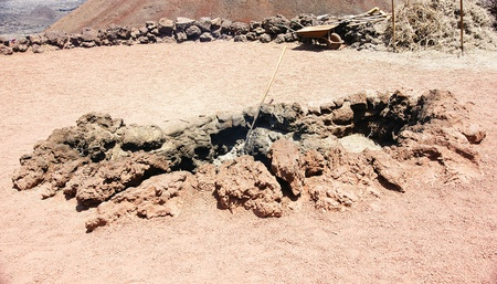 Fire in the bowels of the earth, park Timanfaya in Lanzarote, Canary Islands Stock Photo - 21912867