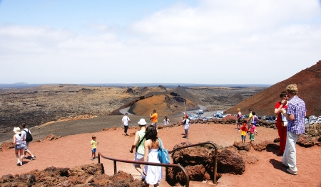 steam mouth: volcanic landscape of Timanfaya National Park, Lanzarote, Canary Islands Editorial