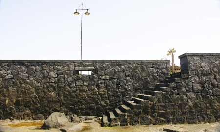 retaining: retaining wall with stairs in Arrecife, Lanzarote, Canary Islands