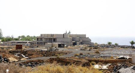 wirtschaftskrise: Aufgabe der Bau von der Wirtschaftskrise, Lanzarote, Kanarische Inseln Lizenzfreie Bilder