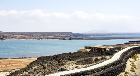 unplanned: Landscape with channel of the Janubio Salinas, Lanzarote, Canary Islands