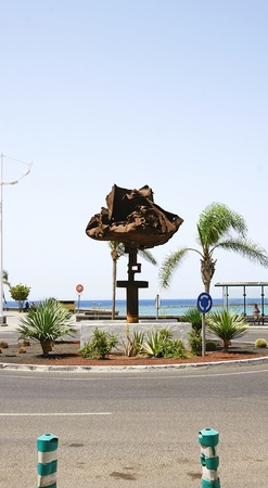 windward: Windward sculpture on a roundabout in Arrecife in Lanzarote, Canary Islands