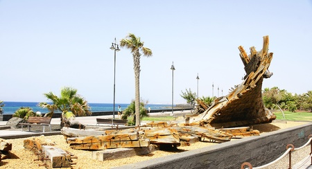 phoenicians: Archaeological remains of a Phoenician shipwreck in a park in Arrecife, Lanzarote, Canary Islands