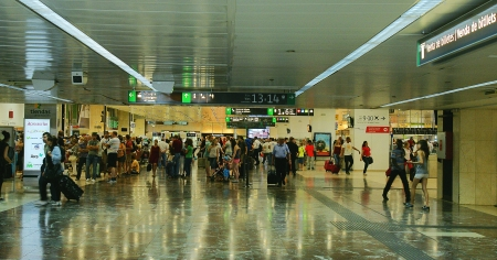 crowd tail: Interior Arrecife airport in Lanzarote, Canary Islands