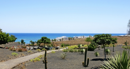 Landscape of Costa Teguise with sea in the Bottom in Lanzarote, Canary Islands