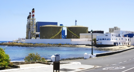 Panoramic of power plant at background, Arrecife, Lanzarote, Canary Islands Stock Photo - 21674419