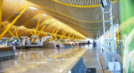 barajas: Interior hall of the airport Madrid Barajas Terminal 4