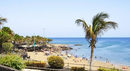 Beach Puerto del Carmen, Lanzarote, Canary Islands Редакционное