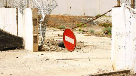 prohibido el paso: Chain ninguna muestra de violaci�n en Arrecife, Lanzarote, Islas Canarias
