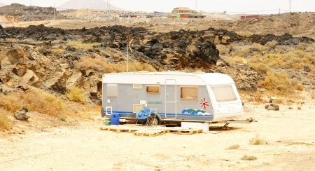 marginalization: Roulotte in a field, Arrecife, Lanzarote, Canary Islands