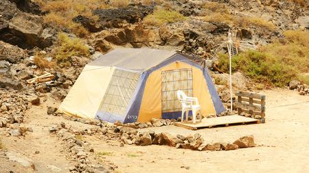 marginalization: Camping tent in a field, Arrecife, Lanzarote, Canary Islands