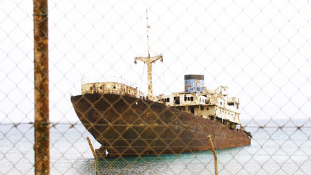 Abandoned boat Arrecife, Lanzarote, Canary Islands Stock Photo - 23700571