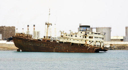 Abandoned ship in Arrecife, Lanzarote, Canary Islands Stock Photo - 22985817