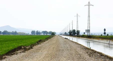 ebro: Canale di irrigazione del Delta dell'Ebro, Tarragona Archivio Fotografico