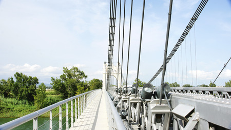 foci: Detail of architecture of the Bridge on the River Ebro in Amposta, Tarragona Stock Photo