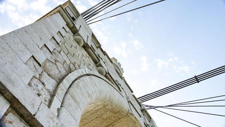 ebro: Particolare di architettura del Ponte sul fiume Ebro in Amposta, Tarragona Archivio Fotografico