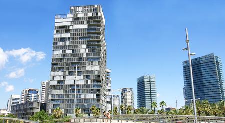 Modern buildings in the Diagonal Mar in Barcelona photo