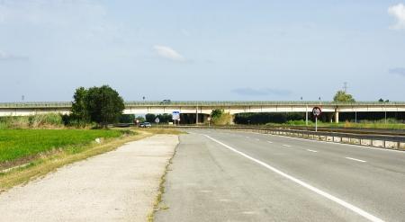 ebro: strada nel Delta del Ebro Tarragona Archivio Fotografico