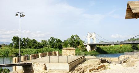 foci: Suspension bridge over the river Ebro in Amposta, Tarragona
