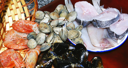 fished: Basket of fished and seafood