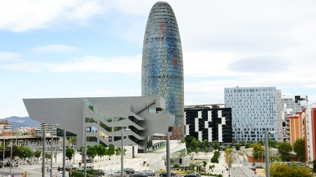 View of the Agbar Tower and the Museum of Design