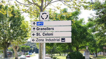 information signals on a road to Santa María de Palautordera, Montseny, Barcelona