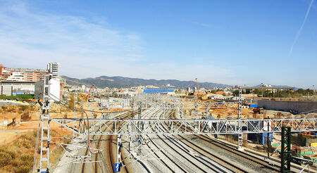 ave: Works or AVE high speed train in Barcelona Stock Photo