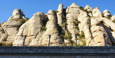 sidewalks: Mountains of Montserrat, Barcelona Stock Photo