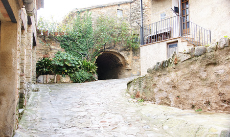 Buildings, streets and alleys of the Middle Ages in Mura, Barcelona