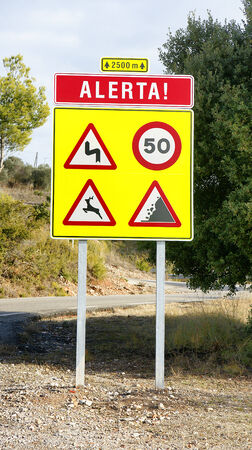 Warning sign on a mountain road, Barcelona