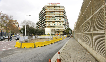 fronts: View of a street in Barcelona with signaling works