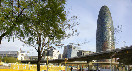 Reconstruction works in The Glories of Barcelona with Agbar tower