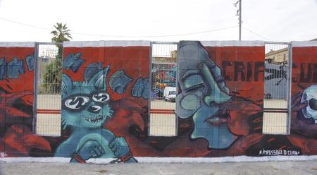 marginalization: Walls graffiti in Barcelona