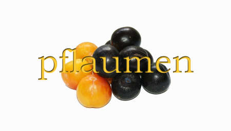 plums with German text
