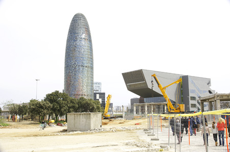 Deconstruction of the ring road in the Square Glories Les Catalanes, Barcelona