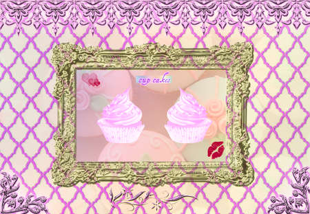 Cup Cakes on frame photo