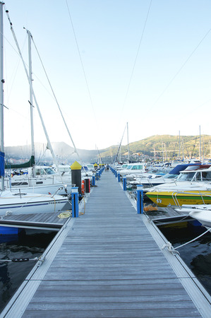 hitching post: Mooring of boats in Moana, Galicia, Spain Editorial
