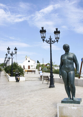 sitges: sculpture of nude woman in Sitges, Barcelona
