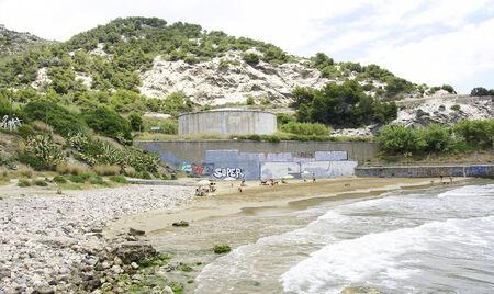 garraf: Playa de Vallcarca, Coast of El Garraf, Barcelona Stock Photo